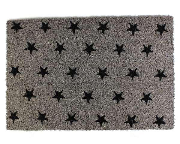 Fußmatte grau 'Sterne schwarz' 60x40cm