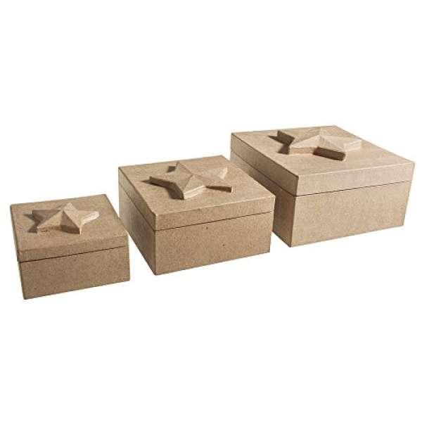 Pappmache Quadratboxen m.Stern