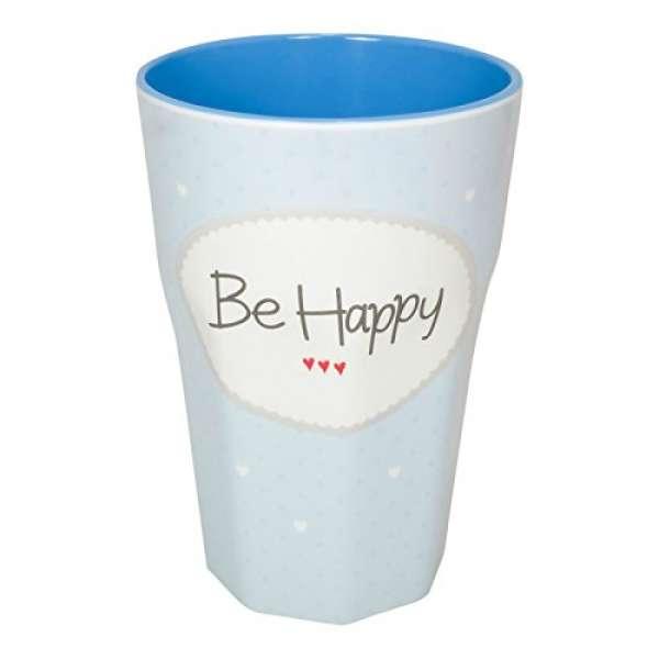 Melamin Becher Groß Be Happy blau