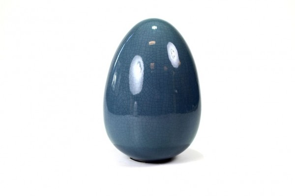 Deko Osterei craquele blau, H21cm
