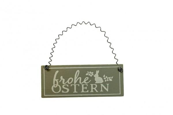 Deko Schild 'Frohe Ostern', braun 10x9,5cm