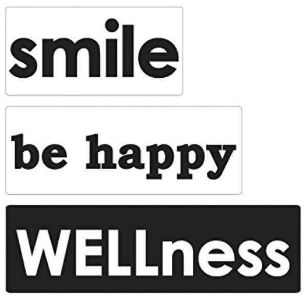 """Labels """"smile, be happy, 30x15mm, 40x15mm, 50x15mm"""