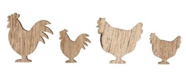 Holz-Streuteile Hühner