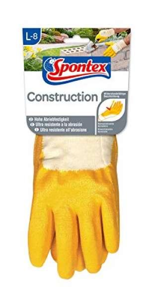 Spontex 12130048 Handschuh Construction. Größe 8 - 8.5 für grobe Arbeiten mit Werkzeugen und Ölen