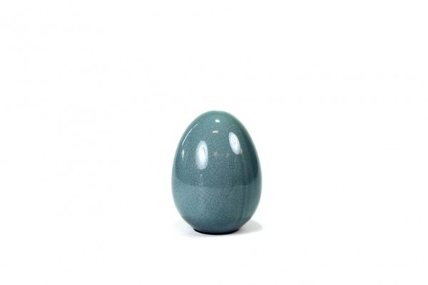 Deko Osterei craquele blau, H12cm