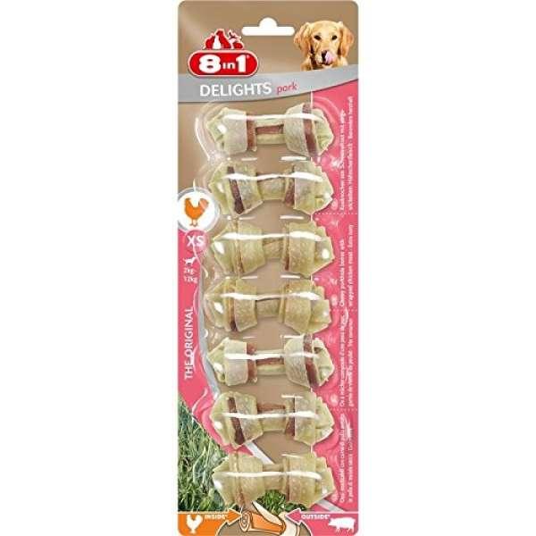 8in1 - Delights Pork Hunde Kauknochen L - 85g