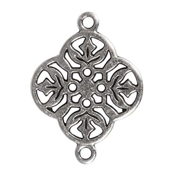 Metall Zierlement Ornament Blume silber
