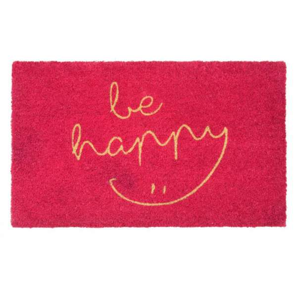 Gift Company Fußmatte Kokos 'be happy' pink 75x45cm