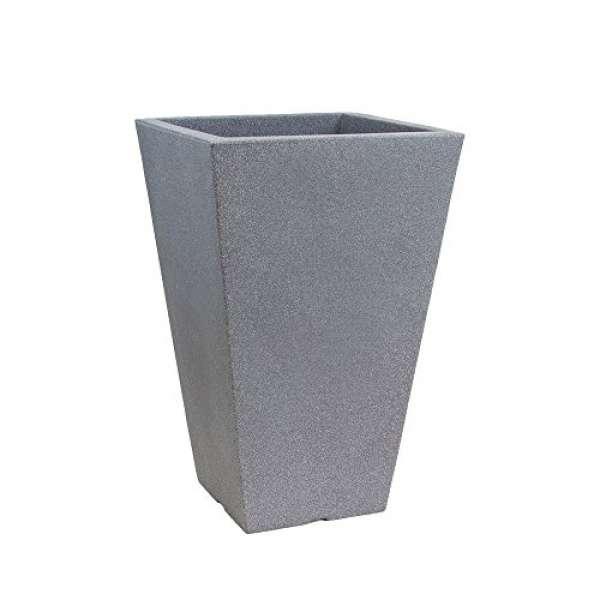 Pflanzvase CAPRI eckig steingrau 24x35cm