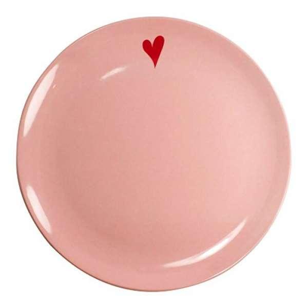 Melamin Teller Herz rosa