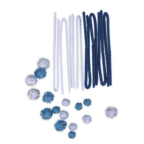 Metallic-Pompons + Chenilledraht 24Stück, blau-weiß