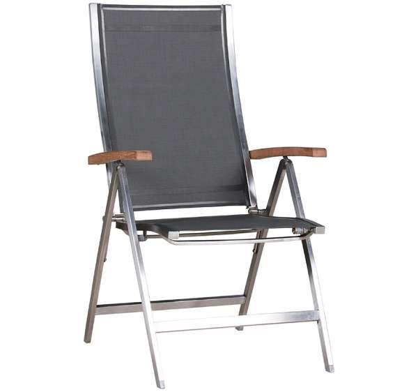 Sessel One klappbar hoch Edelstahl grey