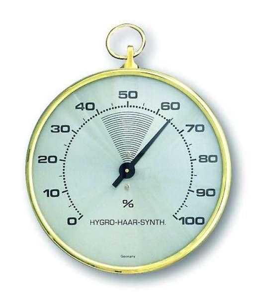 Hygrometer mit Haar-Synthetik, gold/antikgold