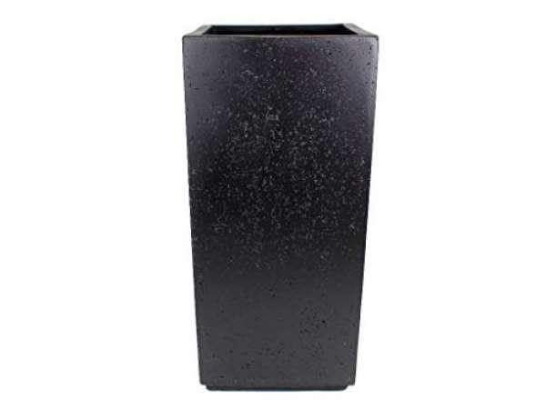 Blumenkübel für Draußen Schwarz Quadratisch in Steinoptik