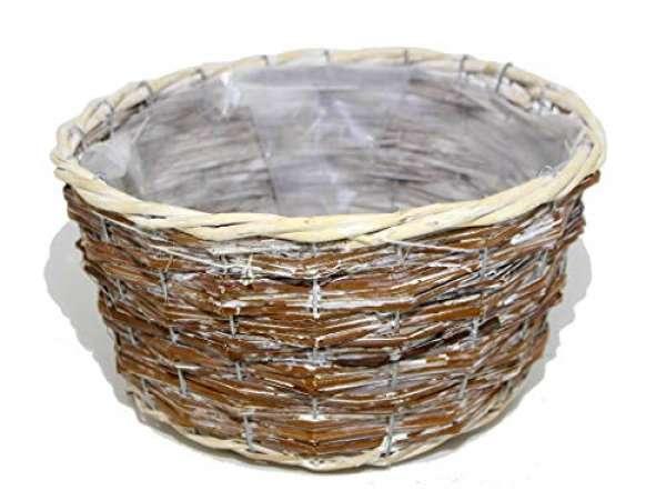 Korb rund antik weiß 28x15cm