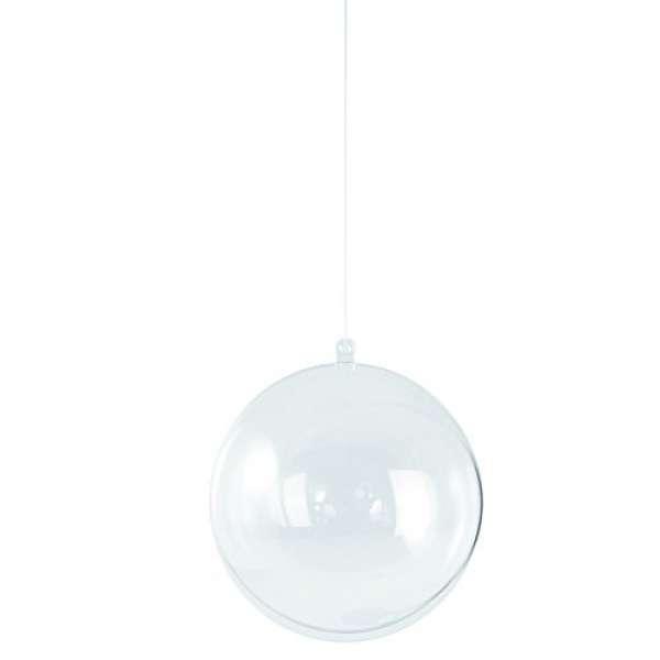Plastik Kugel 2tlg. 16cm kristall