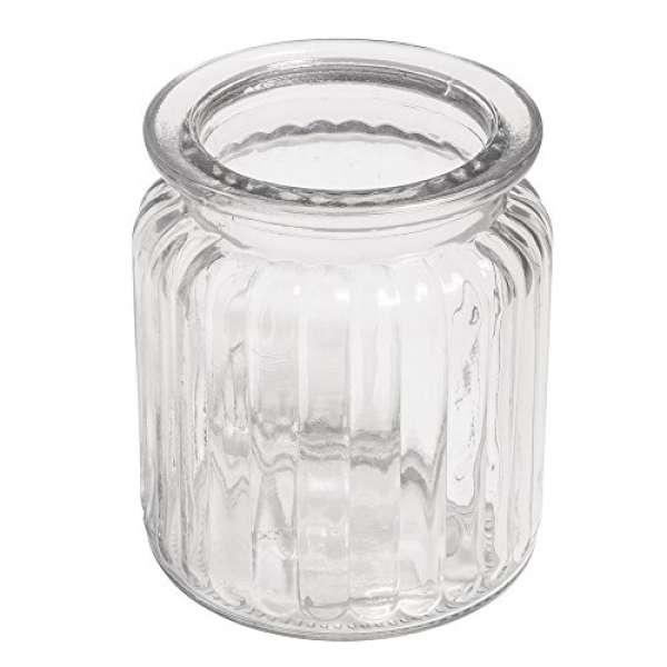 Glas Gefäß mit Rillen 7,5 x 9cm