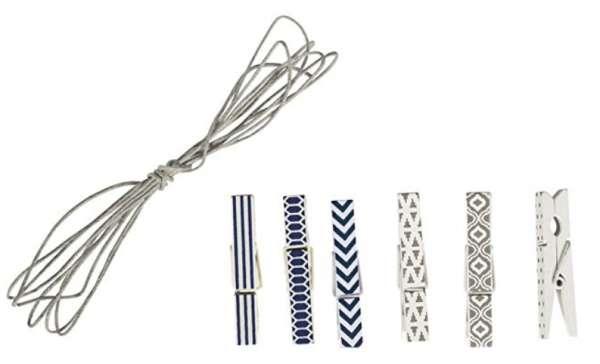 Holzklammern + Kordel ca. 1,5m, 4,5x0,6cm, blau/weiß