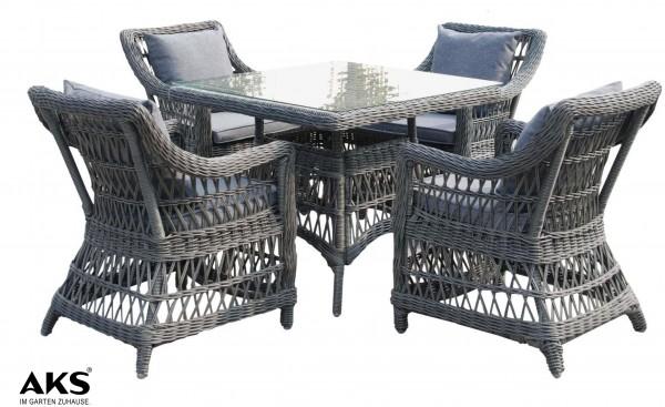 Set 4 Sessel Föhr + Tisch Föhr