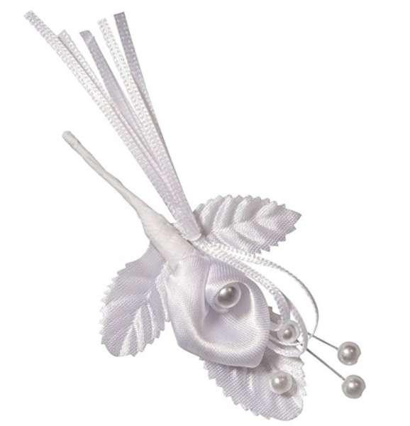 Satin Blütenanstecker Calla mit Perle weiß