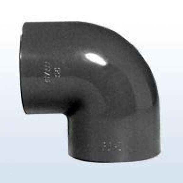 PVC-Winkel 90°, 2x Klebemuffe, 63 mm