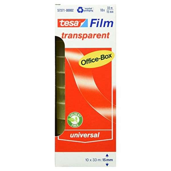 tesafilm Klebeband, transparent, Office-Box mit 10 Rollen, 33m x 15mm