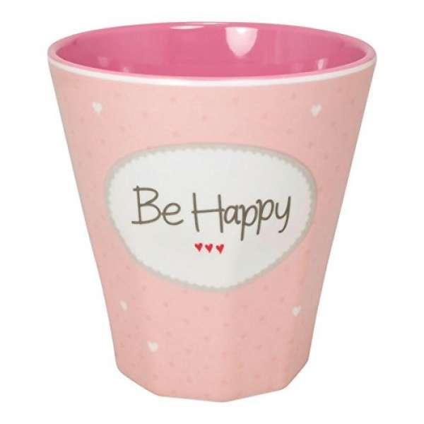 Melamin Becher Klein Be Happy rosa