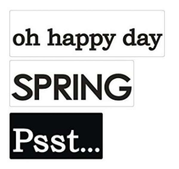 """Labels """"oh happy day, SPRING, Psst..."""""""