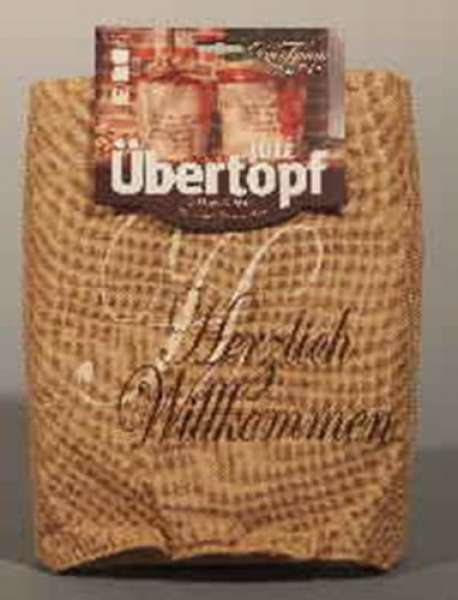 Jute- Übertopf / Beutel bedruckt natur-beige