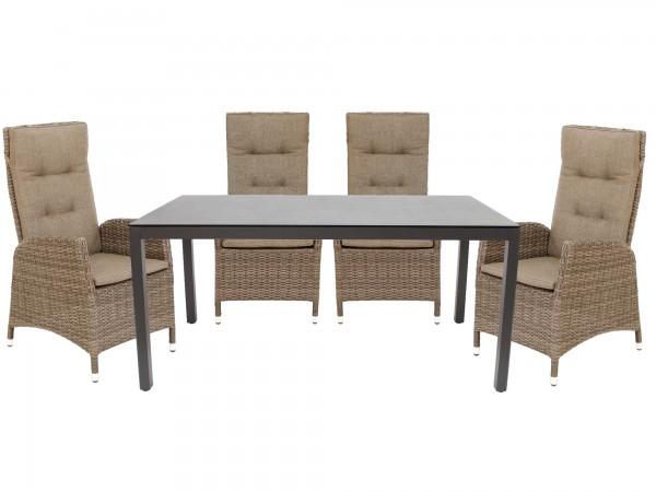 Set 4 Sessel Memphis + Tisch Seattle