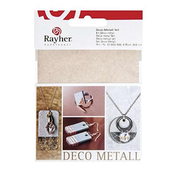 Deco-Metall Set, 9x9cm, kupfer/gold/silber