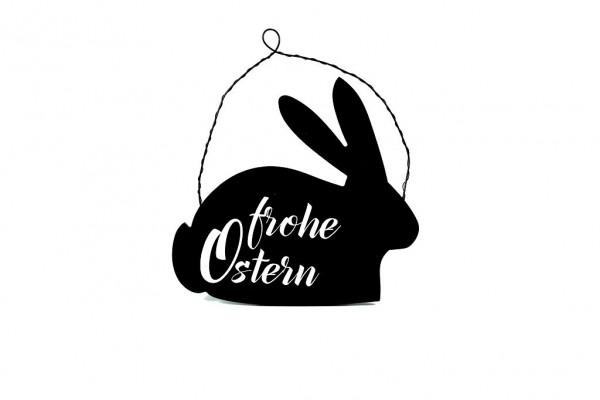 Deko Schild 'Frohe Ostern', schwarz 26x24x0,5cm