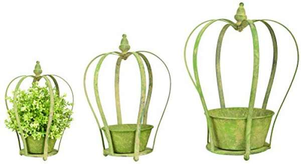 Esschert Design Aged Metall grün Krone Übertopf 1 Stück