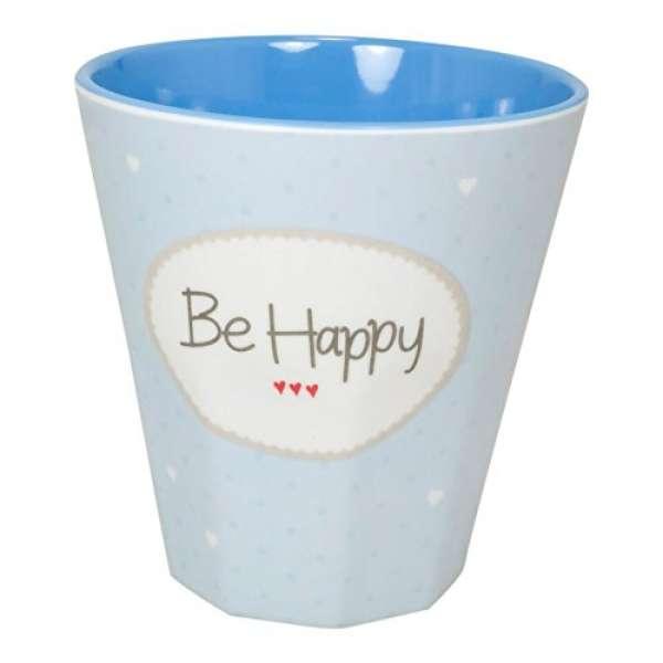Melamin Becher Klein Be Happy blau