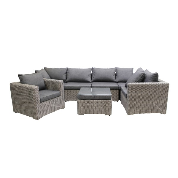 Loungegruppe Long Island mit Sessel Grey Willow inkl. Kissen