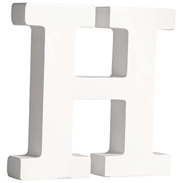 MDF Buchstabe H weiß 11cmx2cm