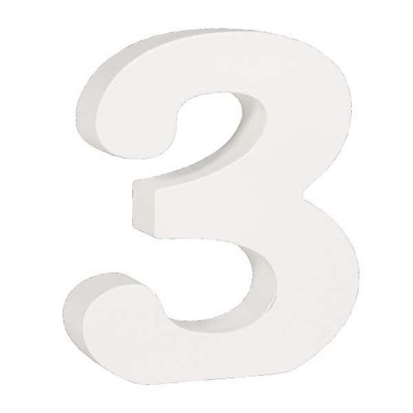 Nummer 3 weiß