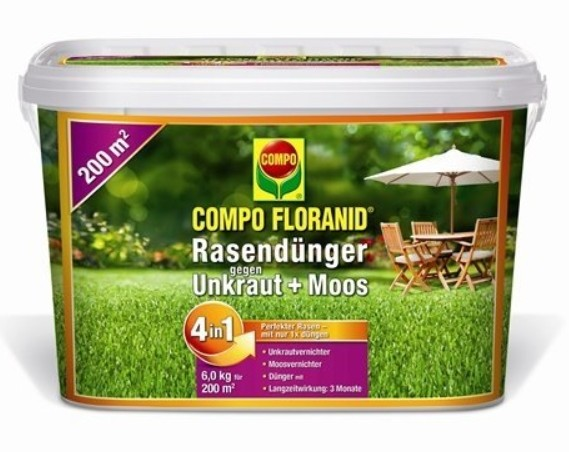 Compo Sana Rasendünger gegen Unkraut + Moos Komplett-Pflege 6kg