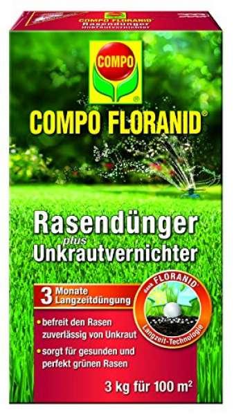 COMPO FLORANID Rasendünger plus Unkrautvernichter 3 kg für 100 m²