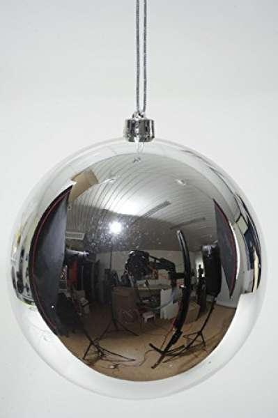 Weihnachtsbaumkugeln, Bruchsicher, 140mm silber