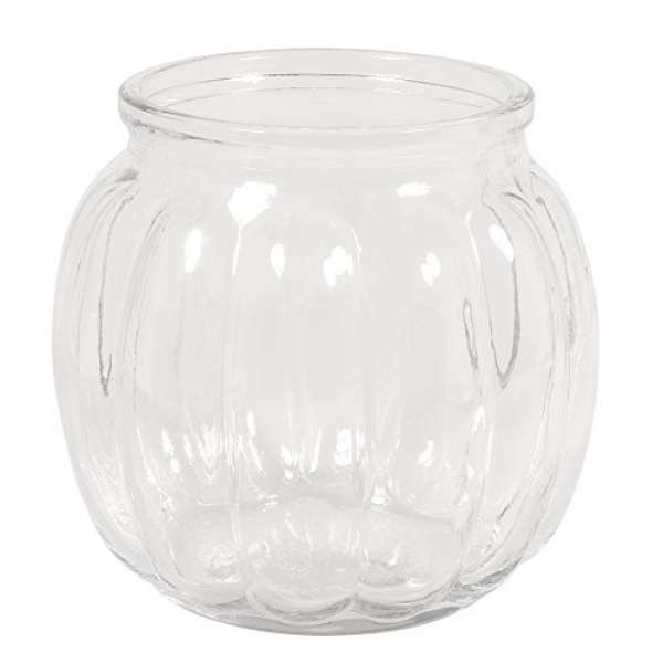 Glas Vase, bauchig Rillen