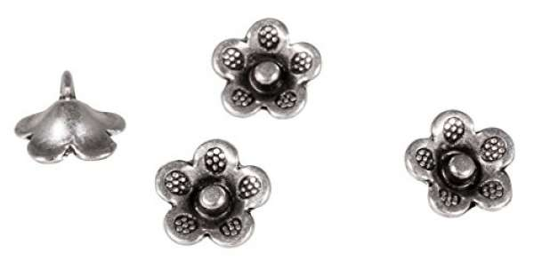 Metall Zierelement Blume silber