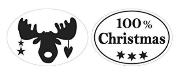 Labels 100% Christmas +Elch oval 2St.