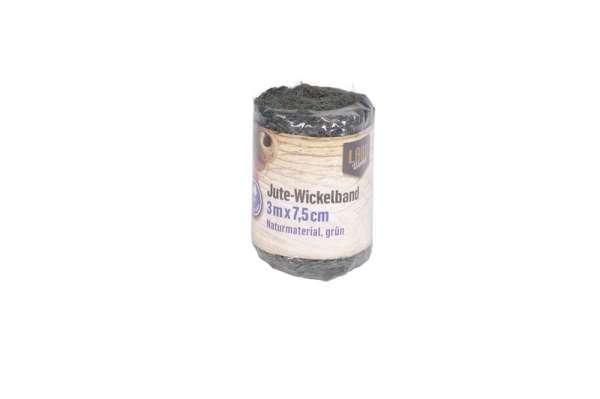 Jute Wickelband 3m x 7,5cm grün LW
