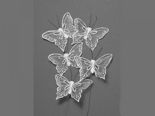 Glitter Schmetterling 5cm 5St. weiß