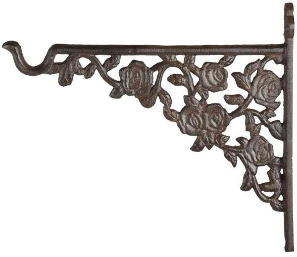 Esschert Design Haken für Hanging Basket in Rosenoptik, aus Gusseisen