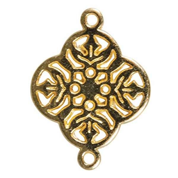 Metall Zierlement Ornament Blume gold