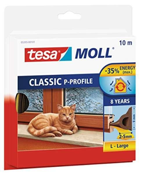 tesamoll Gummidichtung für Fenster und Türen, braun, CLASSIC, P-Profil, 10m