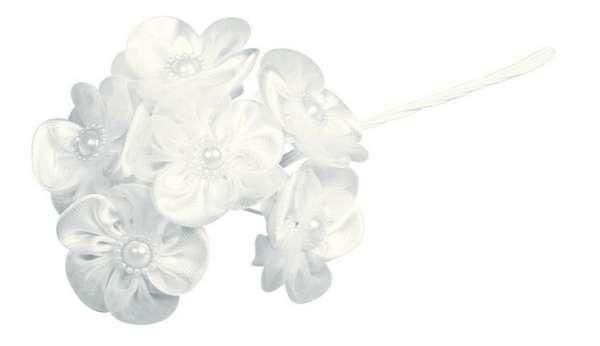 Satin Organza Blüten Bouquet +Perle weiß