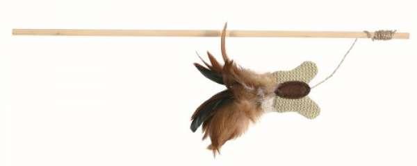 Trixie Spielangel mit Schmetterling/Federn, 45 cm